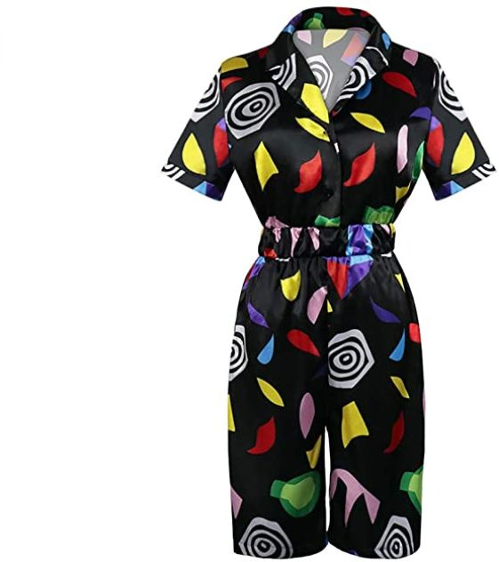 Griony Womens Strangerr Things Mall Eleven Cosplay Costume Jumpsuit Halloween Role Play Season 3 Summer Short Sleeve Dress Ouifit