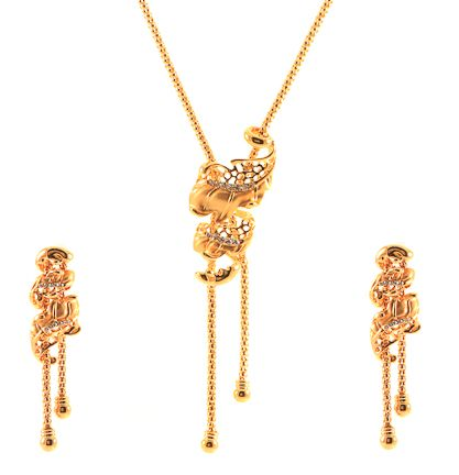 Gold Plated Sash Design Necklace Set With Cz Simulated Diamonds