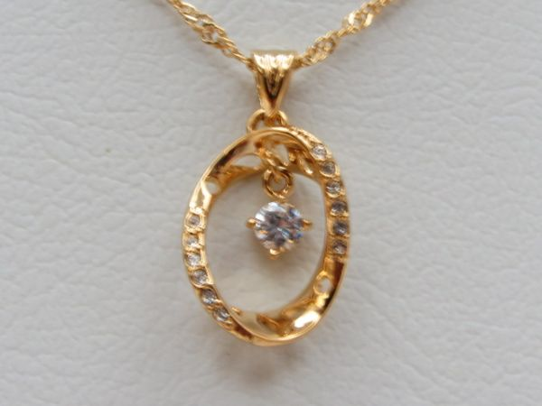 Buy oval design pendant with chain 18 ct gold plated necklaces this item is currently out of stock aloadofball Gallery