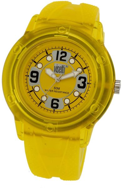 Visetti Men s Stainless Steel Cuba Collection Yellow Rubber Band ... 57df05b468f