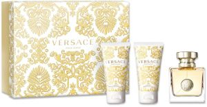 Versace Pour Femme 3 Piece Gift Set (50ML Eau de Parfum, 50ML Luxury Bath and Shower Gel, 50ML Luxury Body Lotion)